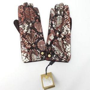Retail $895 New Burberry Kidskin Python Gloves